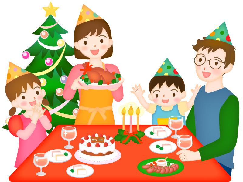 家族でクリスマスパーティーをしているイラスト