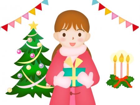 クリスマスプレゼントを持っている女性のイラスト