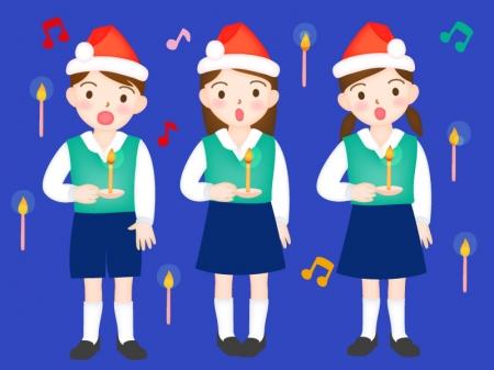 クリスマスにコーラスをする女性のイラスト