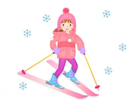 スキーをしている女性のイラスト