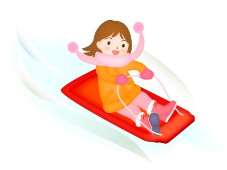 そり滑りをしている女の子のイラスト