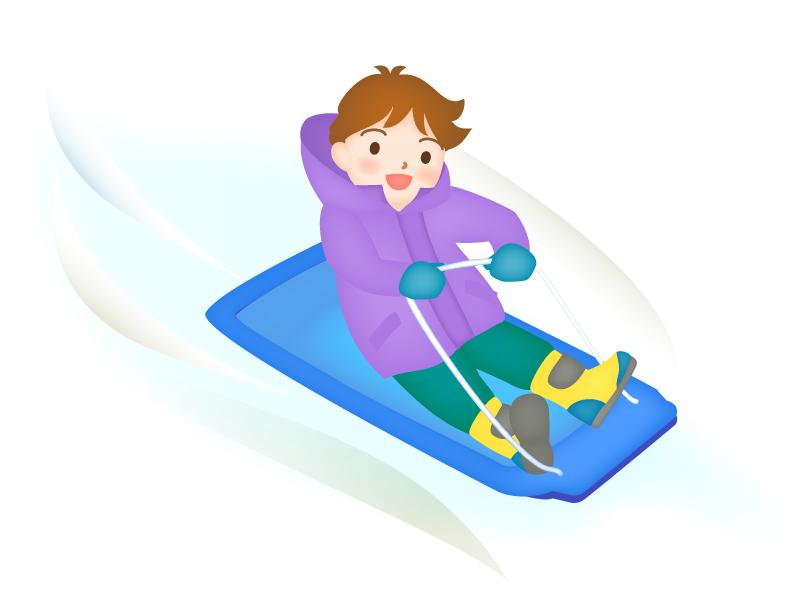 そり滑りをしている男の子のイラスト