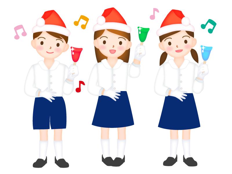 クリスマスにハンドベル演奏をする女性のイラスト