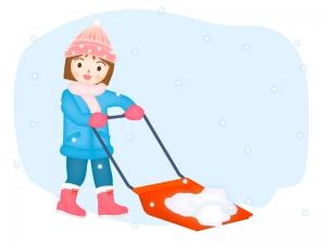 スノーダンプで雪かきをする女性のイラスト