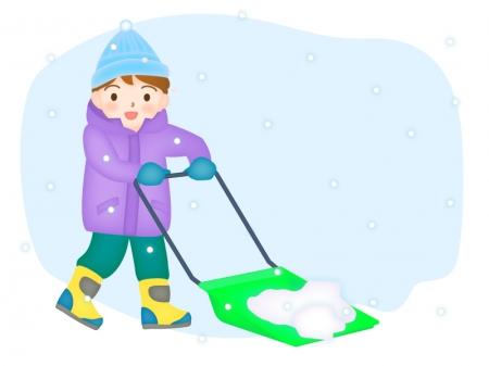スノーダンプで雪かきをする女性のイラスト02