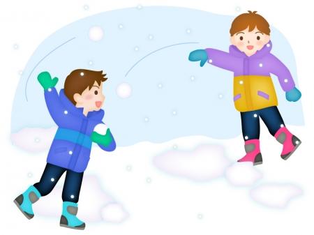 雪合戦して遊ぶ子供達のイラスト