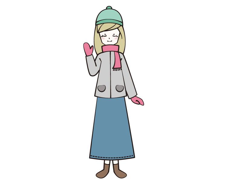 冬・コートとマフラーの女性のイラスト