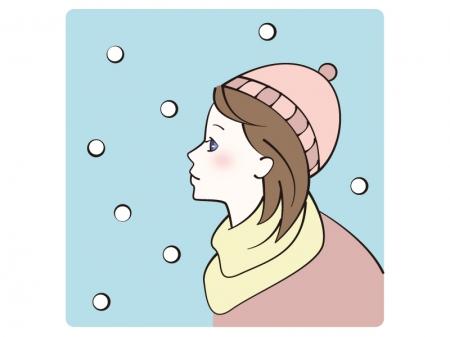 降る雪を見つめている女性のイラスト