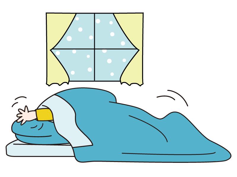 朝寒くて布団から出られない少年のイラスト