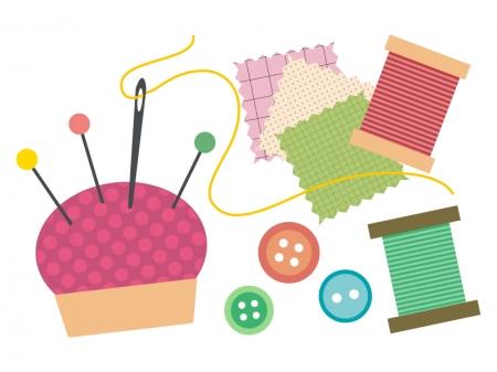 ボタン・ピンクッション・まち針の手芸イラスト