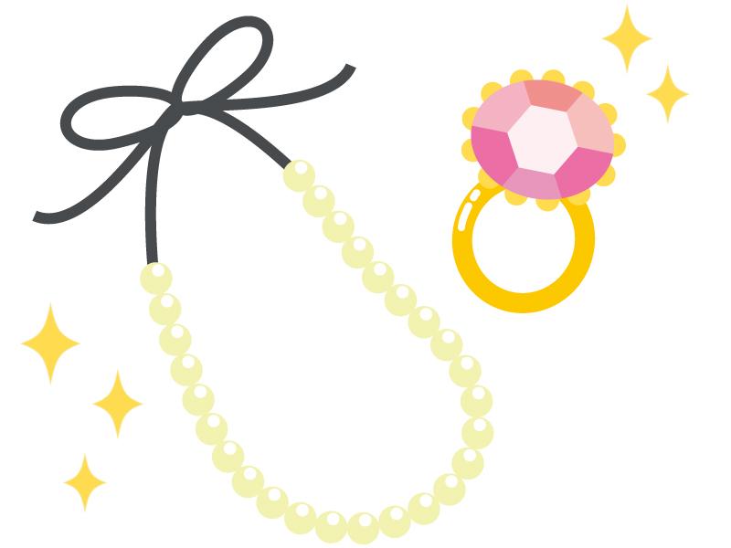 アクセサリー・パールのネックレスと指輪のイラスト
