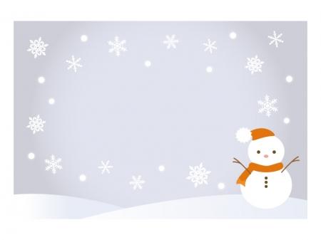 文字無し・雪だるまの寒中見舞いテンプレートイラスト04