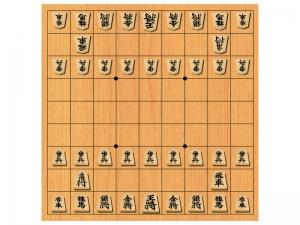 将棋・対局開始時の駒と将棋盤のイラスト