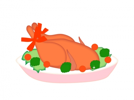 クリスマス・ローストチキン(七面鳥)のイラスト