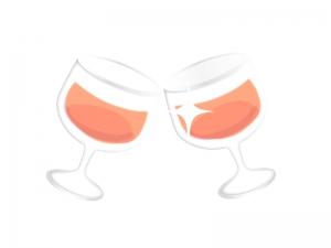 ワイングラスで乾杯しているイラスト