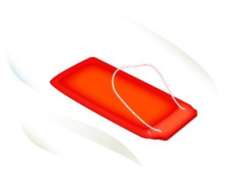 冬の遊び・赤いそりのイラスト