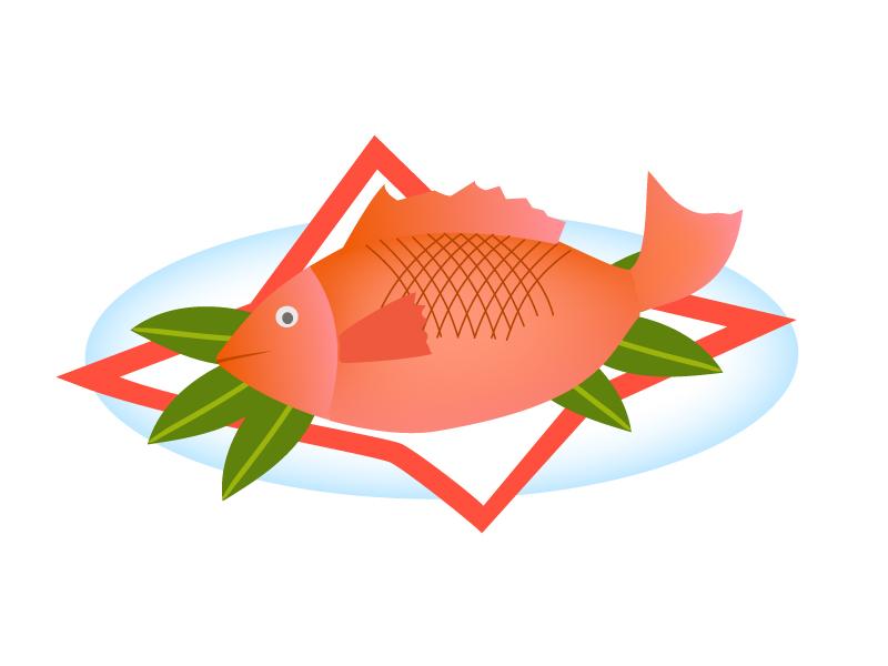 お祝い・鯛の尾頭付きのイラスト