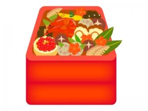 お正月・二段重のおせち料理のイラスト