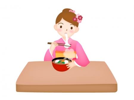お正月・お雑煮のお餅を食べる女性のイラスト