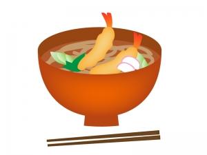 温かい海老天ぷらそばのイラスト