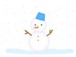 青いバケツ帽をかぶった雪だるまのイラスト