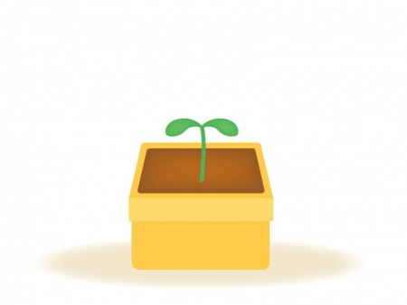 植木鉢から出た芽のイラスト
