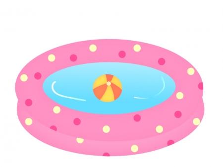 水玉模様のビニールプールのイラスト