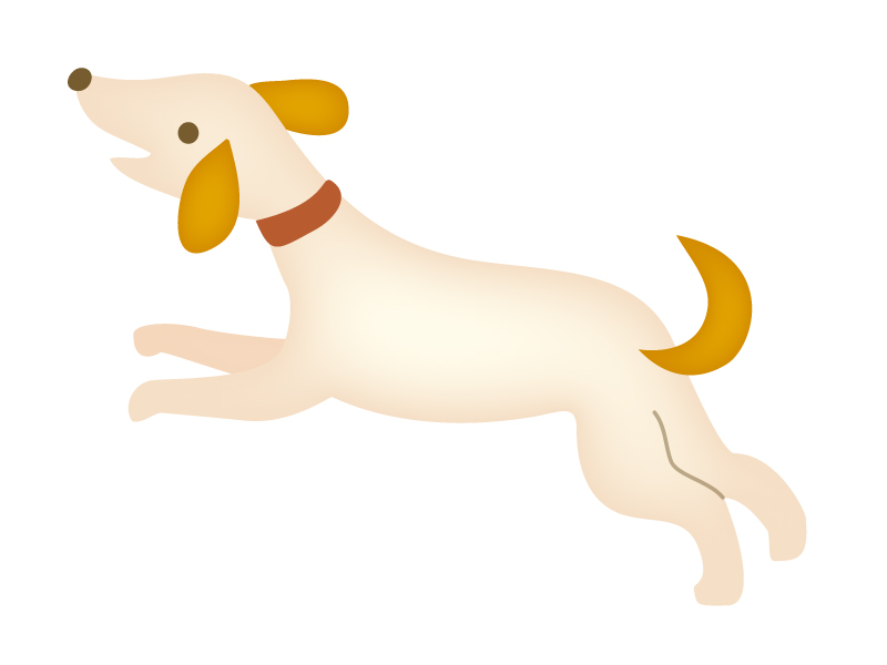 ジャンプしている犬のイラスト