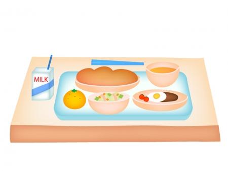 パン食の牛乳付き学校給食のイラスト