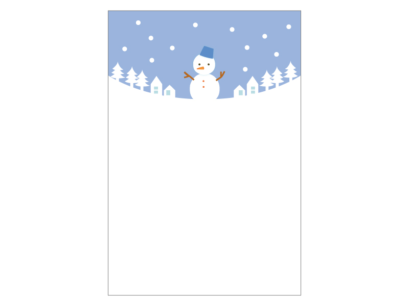 文字無し・雪だるまの寒中見舞いテンプレートイラスト05