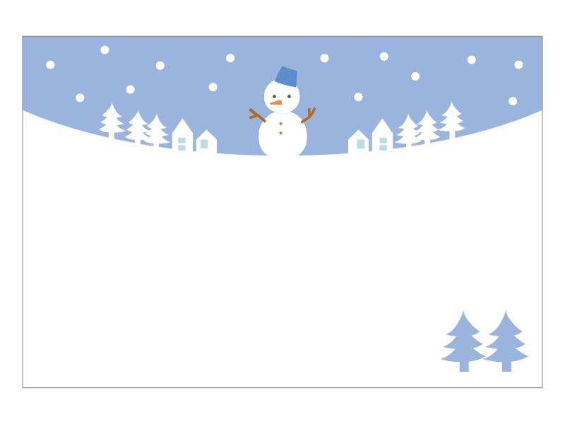 文字無し・雪だるまの寒中見舞いテンプレートイラスト06