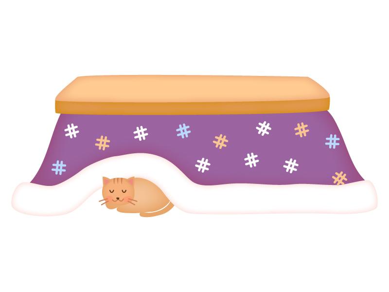 温かいこたつにもぐって寝ているネコのイラスト