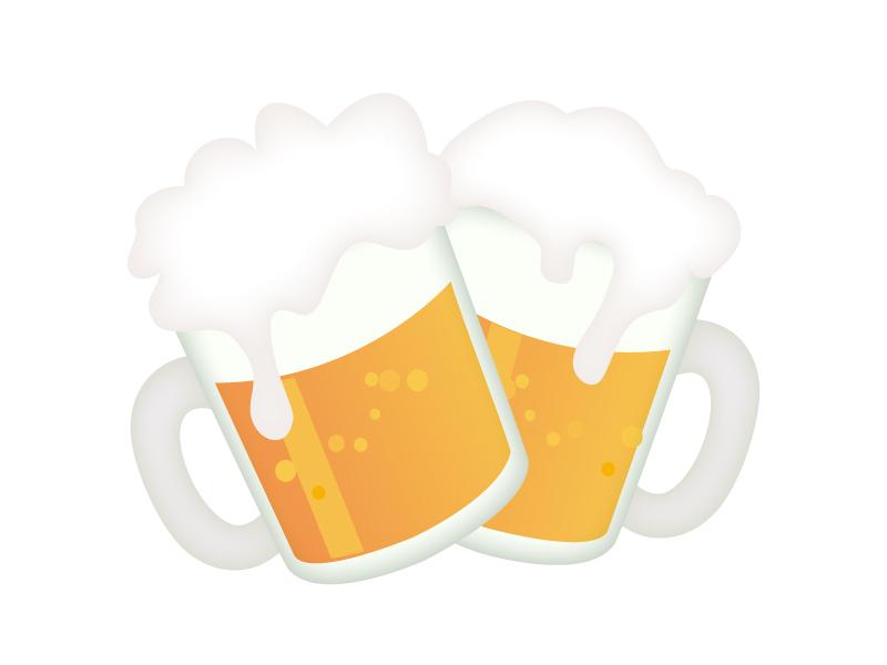 ジョッキビールで乾杯しているイラスト