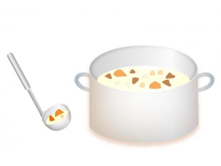 具だくさんのクリームシチューが鍋に入っているイラスト