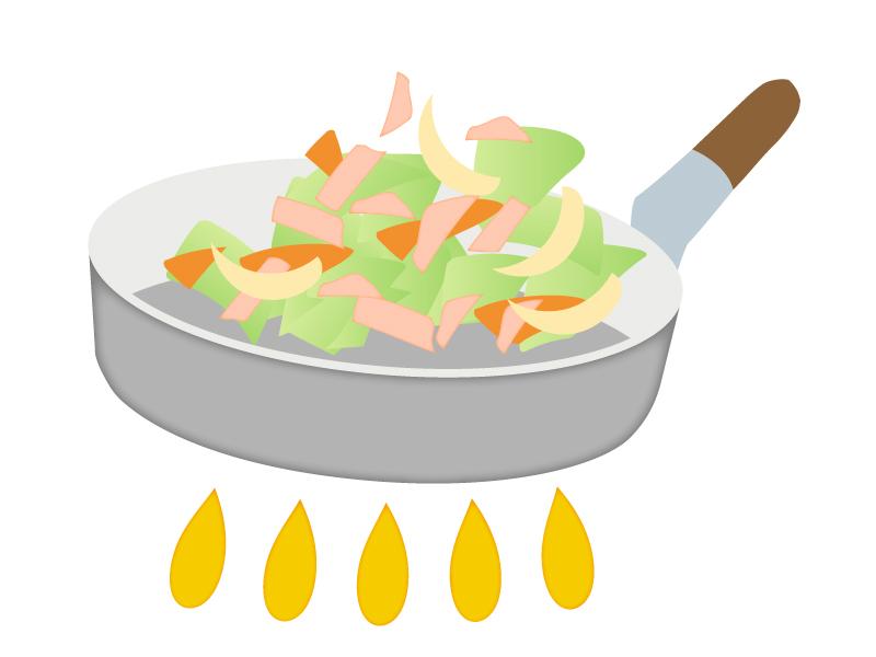 フライパンで肉野菜炒めを炒めているイラスト