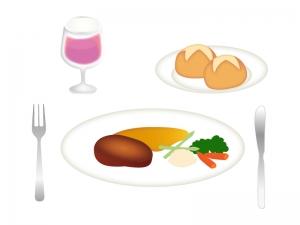 洋食・ステーキとパンのイラスト