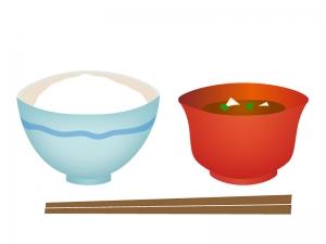 和食・ごはんとお味噌汁のイラスト