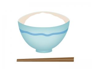 茶碗に盛られた一杯のごはんのイラスト