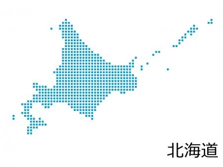 北海道・四角ドットのデザイン地図のイラスト