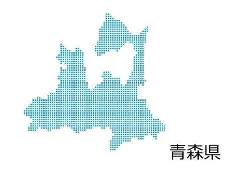 青森県・四角ドットのデザイン地図のイラスト