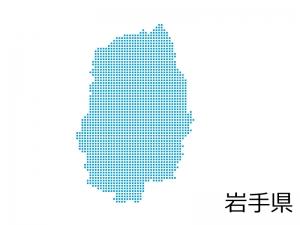 岩手県・四角ドットのデザイン地図のイラスト