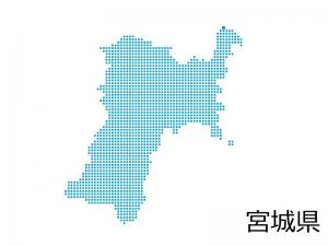 宮城県・四角ドットのデザイン地図のイラスト