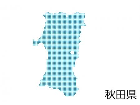秋田県・四角ドットのデザイン地図のイラスト