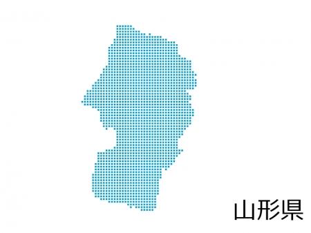 山形県・四角ドットのデザイン地図のイラスト