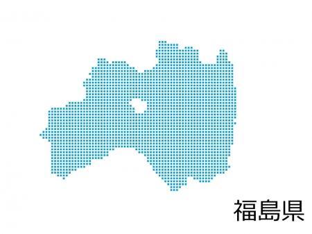 福島県・四角ドットのデザイン地図のイラスト