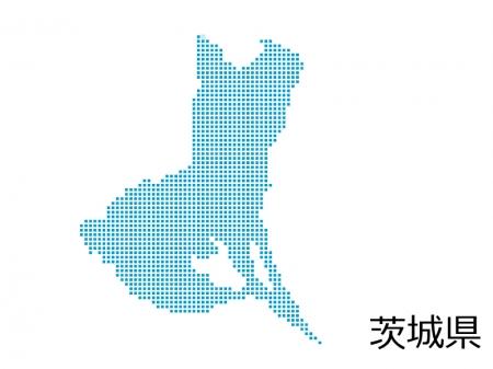 茨城県・四角ドットのデザイン地図のイラスト