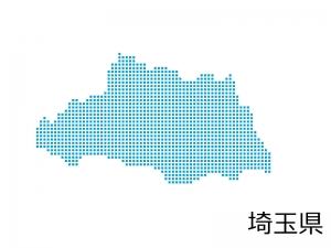 埼玉県・四角ドットのデザイン地図のイラスト