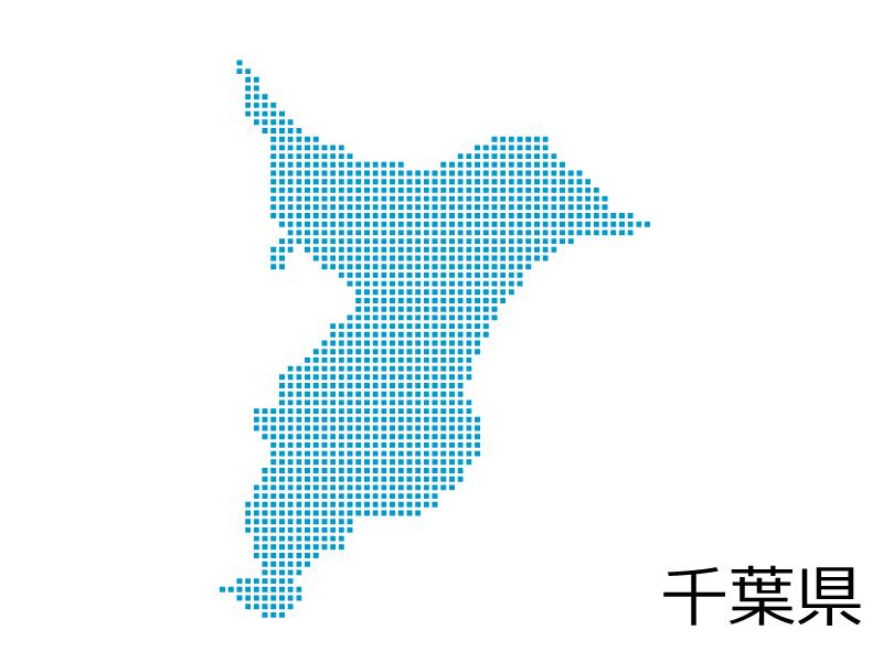 千葉県・四角ドットのデザイン地図のイラスト