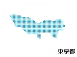 東京都・四角ドットのデザイン地図のイラスト