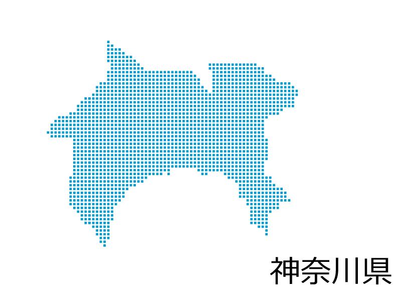 神奈川県・四角ドットのデザイン地図のイラスト